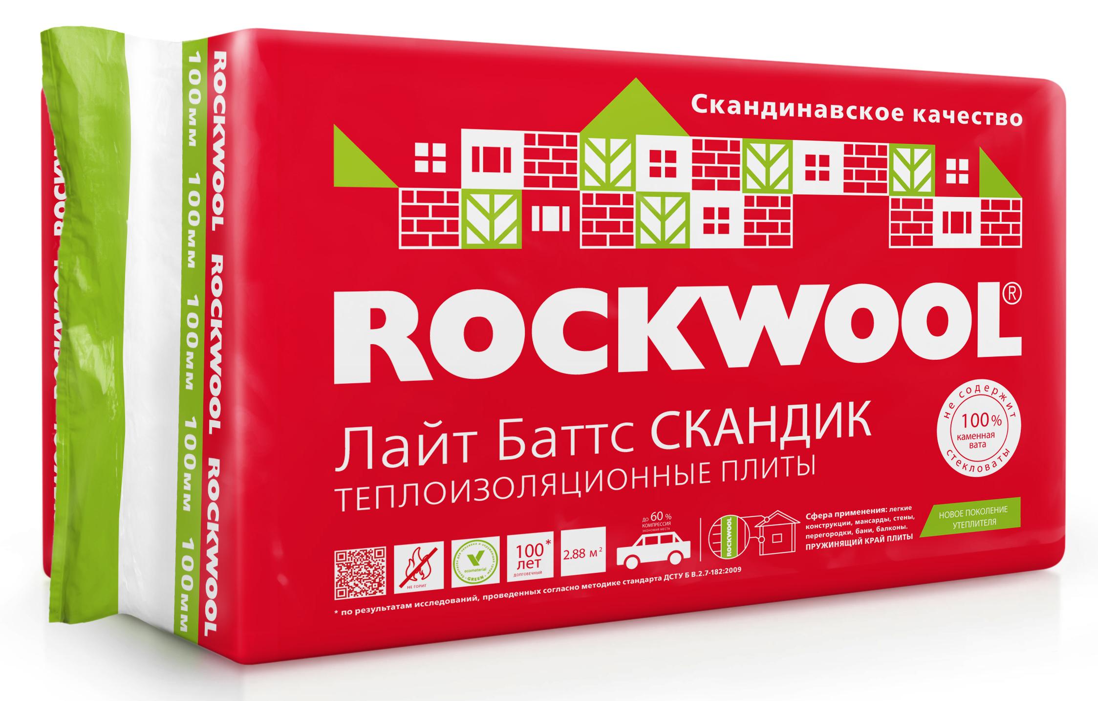 Rockwool ЛАЙТ БАТТС СКАНДИК 50/100 мм